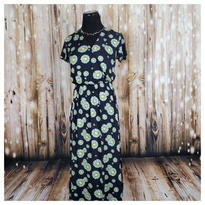 Modcloth Easily Adored Knit Dress Black Floral S